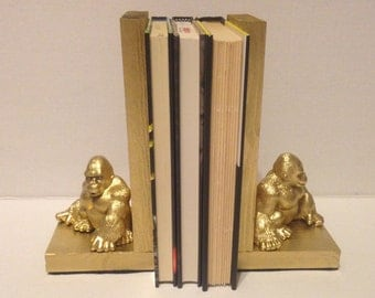 Gold Gorilla Bookends - Animal Decor - Gold Zoo Animal Bookends - Monkey Decor - Baby Room Decorations