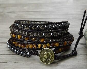 Gemstone wrap bracelet leather wrap bracelet Smoky quartz Hematite Tiger eye bead bracelet bead wrap bracelet Woven bracelet Jewelry SL-0362