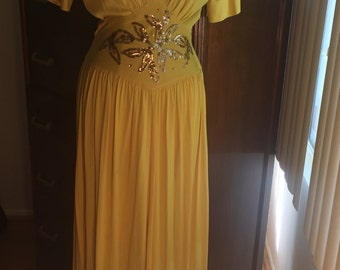 1940s 40s BEAUTIFUL yellow nylon gown dres