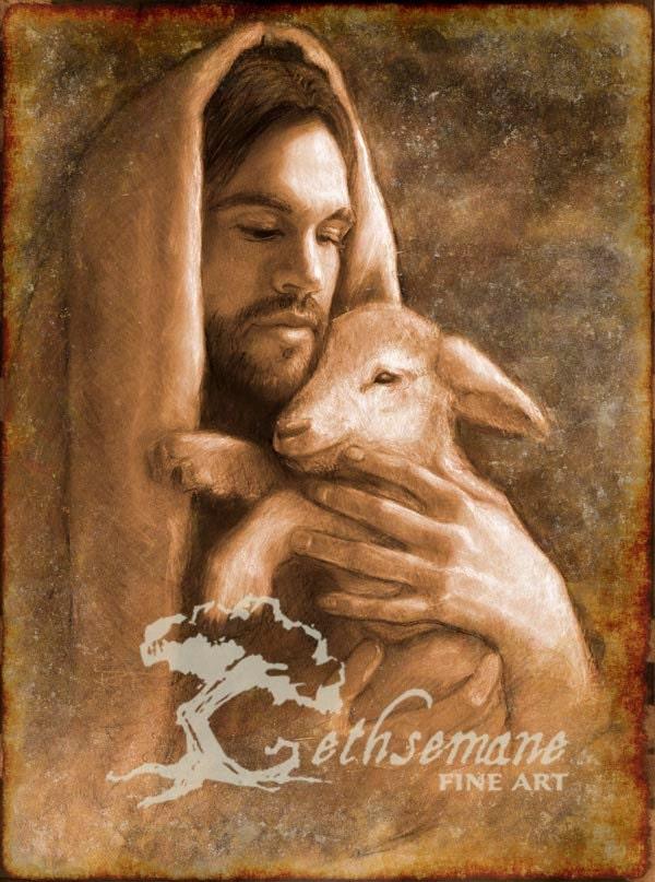 Paper Print Of Savior And Lamb Maketh Calm The