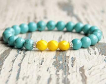 Blue yellow bracelet beaded bracelet colorful charm bracelet gift for her girls bracelet womens jewelry Sweden bright accessories present