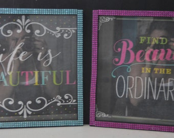 SALE!!!! Framed Positive Quotes with rhinestones