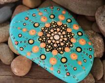 mandala art, painted mandala, mandala stone, turquoise mandala stone, painted rocks, unique stone, meditation stone, zen rocks, rock art