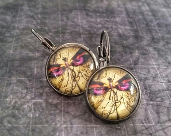 Dragonfly Earrings, Steampunk Dragonfly Earrings, Dragonfly Lever back Earrings, Gunmetal Earrings, Dragonfly Jewelry, Dragonfly Steampunk