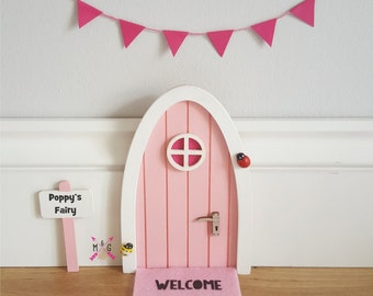 Personalised pink Fairy door great gift for girls and girls room, miniature pretend play magic fairies, elf,  tooth fairy tooth fairy door