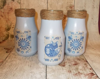 Decorative Glass Jars In Blue Folklore Fox decoupage Shabby Vintage Rustic Chic Set of 3