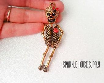 1 Pc XL Bronze Skeleton Pendant Charm with Topaz and Rhinestone Embellishment