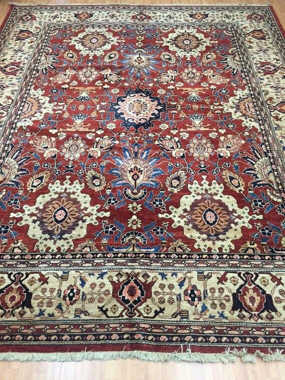 """9'3"""" x 11'6"""" Pakistani Peshawar Serapi Design Oriental Rug - Hand Made - Vegetable Dye - 100% Wool"""