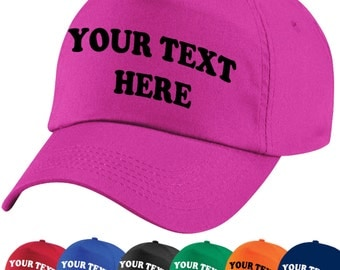 Baseball Cap- 20+ Colours, CUSTOM PRINTED or PERSONALISED with Any Text, Logo, Emblem