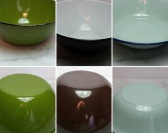 Vintage Enamel Bowls, Farmhouse, Shabby Chic, Primative, Antique, Vignette, Rustic, Lot of 3