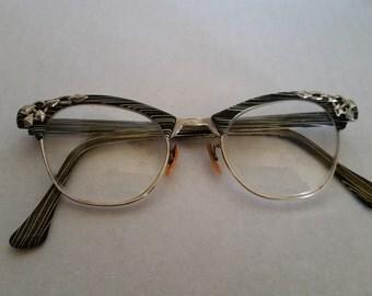 ArtCraft Vintage Eyeglasses Black and White with Silver Tone Embellishments - Mad Men MidCentury