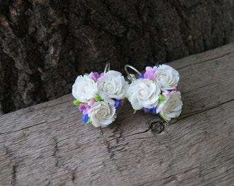 Flower earrings White Rose earrings Polymer clay earring Polymer clay jewelry Lilac earrings Cute jewelry Floral earrings Miniature jewelry