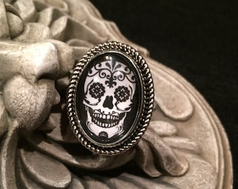 Sugar Skull Black and White Silver or Bronze Oval Ring Mexican Day of the Dead Gothic Rockabilly