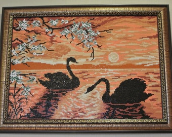 "Diamond painting ""Swans"", embroidered picture, hand made"