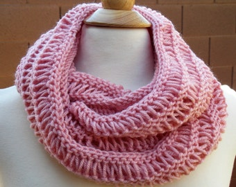 Hand Knitted Inifinity Scarf/Cowl, Pink Knitted Scarf, Hand Knitted Pink Cowl