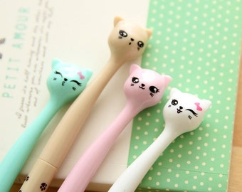 Cute Cat Head Pen / Kawaii Cat Pens / Curvy Neck Paw Print Pens / Cute Pens / Kawaii Pens / Gel Ink Pens / Cute Gel Pens / Darling Cat Pens