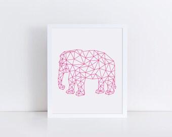 ELEPHANT Print, Printable Wall Art, Hot Pink Elephant, Geometric Wall Decor, Elephant Art, Modern Art, Digital Poster Print, Nursery Decor