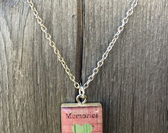 Memories Heart Scrabble Tile Pendant Necklace in Pink and Green- Scrabble Tile Jewelry- Scrabble Necklace- Green Pink- Valentine's Day