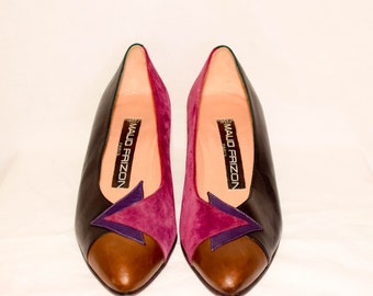 Vintage Maud Frizon Paris Purple, Black, Brown Triangle Detail Pump (5.5)