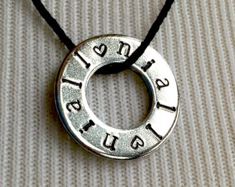 Niall Necklace Hand Stamped Washer Jewelry Pendant Custom Hand Stamped