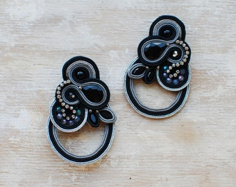 Soutache dangle earrings, Black and silver earrings with crystal, Beaded earrings, Embroidered earrings, Gift for her, Grey, FREE SHIPPING