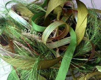 Groene zijde kunst garen etsy - Geschilderde bundel ...