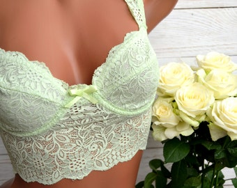 Floral lace bralette/ Bustier Top/ Lace bra/ Boho lingerie