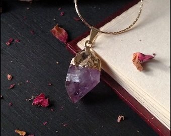 Rough Amethyst Necklace With Gold Plating
