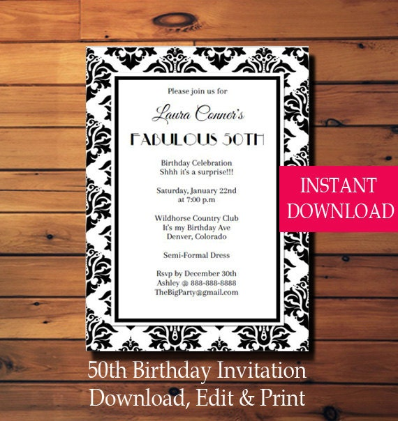 50th Birthday Invitations Anniversary We Have Blackjack Party Poker Table Playing Card Suits