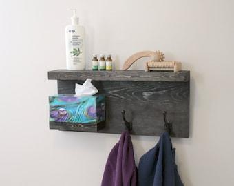 Modern Rustic 2 Tier Bathroom Shelf, Modern 2 Tier Rustic Bathroom Shelf Towel Rack Bronze Robe Hooks, Weathered Black