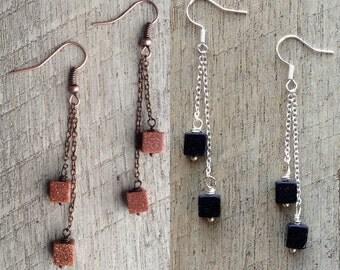 Bluestone/Goldstone Long Dangle Earrings, Chain Earrings, Minimalist Earrings, Rustic Modern Jewelry, Free Shipping U.S.