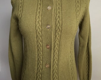 Vintage 1960s Olive Green Button-Down Cardigan Wool Sweater