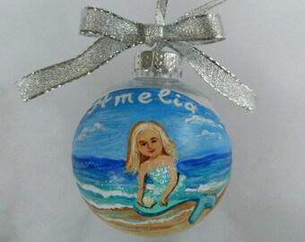 Mermaid ornament, Handpainted Mermaid Christmas Ornament, Personalized Mermaid Ornament, Custom Mermaid Ornament, Mermaid Gift for Girl
