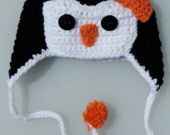 Crochet Penguin Hat, Crochet Penguin Earflap Hat, Photo Prop