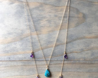 Turquoise and Amethyst Drops 14k Gold Filled Delicate Layered Necklace