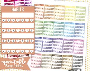 Habit Tracker - Sidebar | PRINTABLE Planner Stickers | Pdf, Jpg, Silhouette Studio V3 Format | ECLP Vertical Planner Stickers
