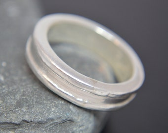 Fine Silver and Sterling Silver Wedding Band, Engagement Band, Promise Ring, Artisan Ring, Rustic Band