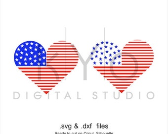 4th of July SVG American flag Heart SVG American Presidents Day SVG Independence Day svg fourth of july svg files for Cricut and Silhouette