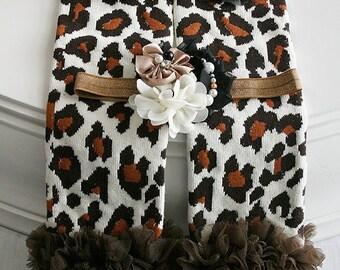 Leopard Baby Leg Warmers, Baby Girl Leggings, Ruffle Leg Warmers, Infant Leg Warmers, Baby Photo Prop, Animal Print Leg Warmers, Brown Cream