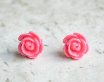 Rose Garden - Pink Rose Stud Earrings
