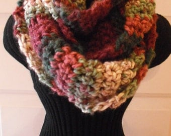 Rustic Variegated Cowl, Women's Scarf, Infinity Scarf, Winter Scarf, Crocheted Scarf, Fashion Scarf