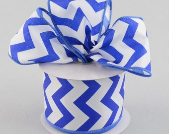 RIBBON - Wired Ribbon - Chevron Ribbon - Wreath - Floral Ribbon - Blue Ribbon
