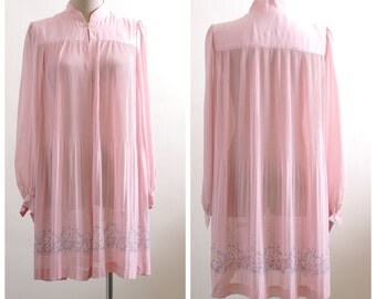 Pink mandarin collar duster coat
