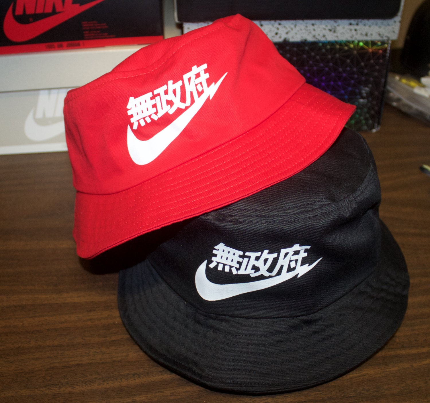 406d7e69239 Chinese Nike Swoosh Bucket Hat Red   Black by YFpro on Etsy