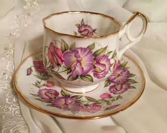 Vintage Teacup and Saucer Set Rosina Fine Bone China Made in England