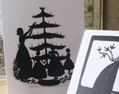 Trim the Tree print of my original paper cutting, Set of 3 greeting cards by Erin Huber