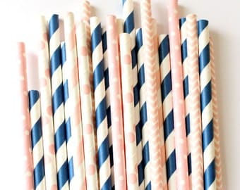 Navy blue and pink straws, gender reveal party,  navy blue and pink straws, baby shower straws