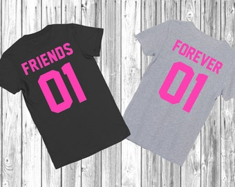 """Any number! Best Friends Couple T-shirts """"Friends Forever"""" couple T-shirts BFF Tshirt couple shirts best friend shirt"""