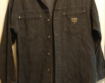 Grey-Black Guess Georges Marciano Snap Button Up Shirt