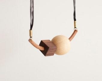 ANR Leather Arc #1  // geometric wood bead necklace, wood leather necklace, ribbon leather necklace, brass necklace, color block necklace